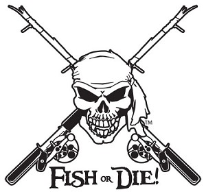 "Black Jumbo ""FISH OR DIE!"" - Die Cut Fishing Decal"