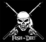 White Jumbo 'Fish or Die' Fishing Decal