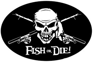 "Fish or Die Fishing Decal - 6"" x 9"" Oval"