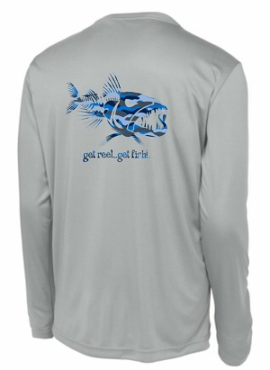 Gray Longsleeve Performance T with Blue Camo 'Get Reel...Get Fish' Logo