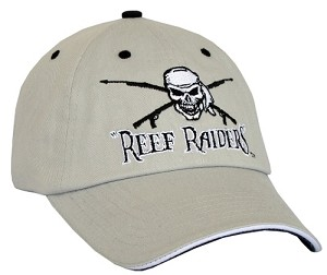 SILVER 'REEF RAIDERS' CAP WITH SPEARGUNS AND FISH.  BLACK TRIM