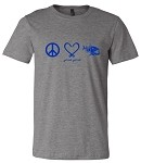 GRAY PEACE, LOVE, FISH SHORT SLEEVE T-SHIRT